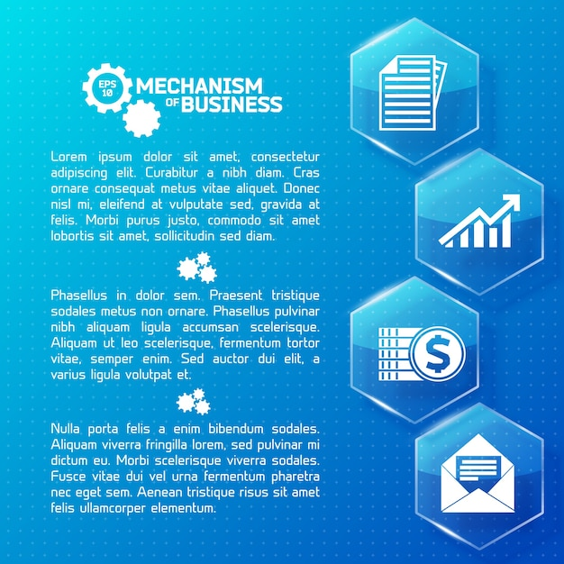 Abstract business infographics with text glass light hexagons and white icons on blue dotted illustration Free Vector