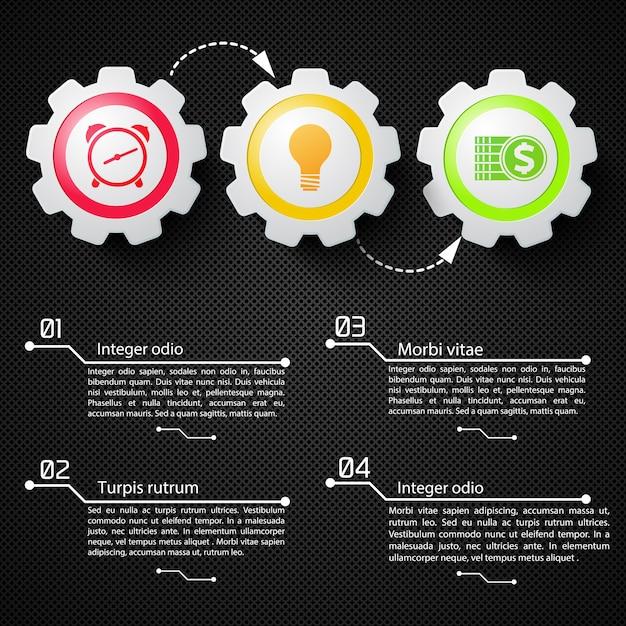 Infographics astratto di affari con gli ingranaggi meccanici del testo e le icone variopinte sull'illustrazione nera della rete Vettore gratuito
