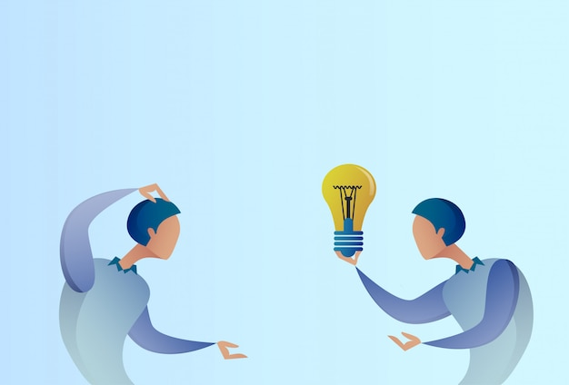 Abstract business man giving colleague new creative idea concept hold light bulb Premium Vector