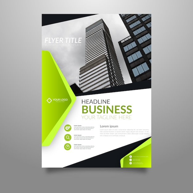 Abstract business poster template with photo Free Vector