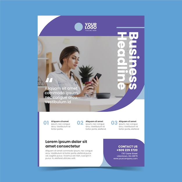 Abstract business poster with photo of woman working Free Vector