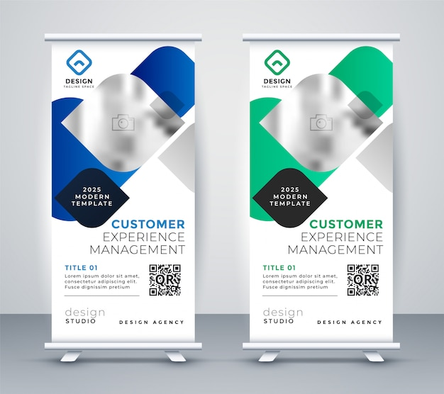 Abstract business professional roll up banner design Free Vector