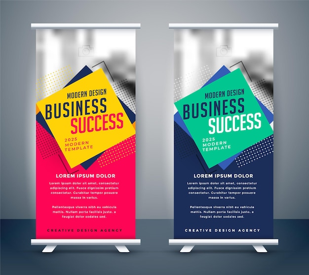 Abstract business standee roll up banner design Free Vector