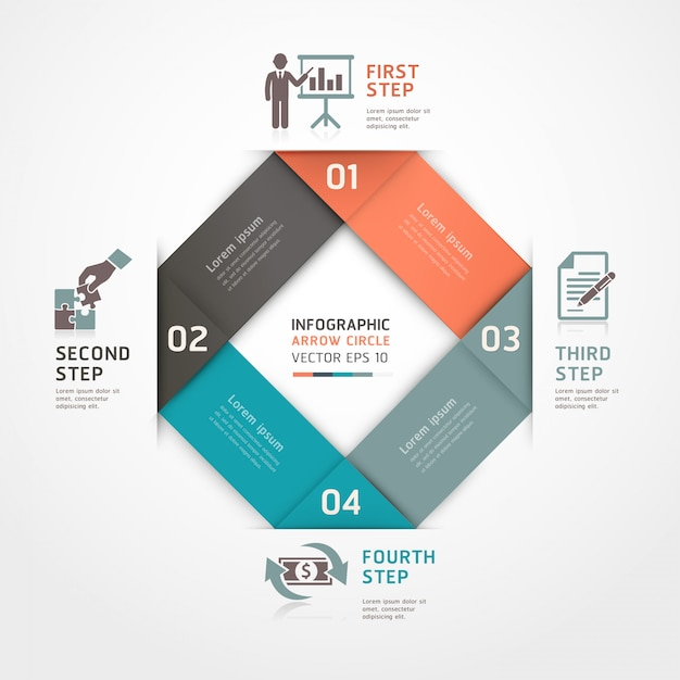 Abstract business steps origami style options can be used for workflow layout, diagram, number options, step up options, web design, infographics. Premium Vector