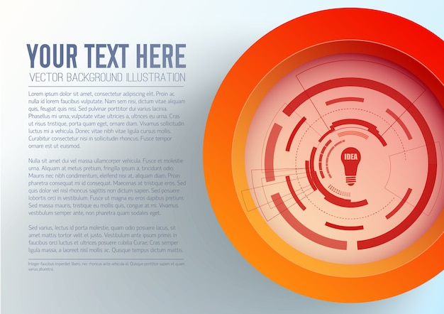 Abstract business template with text red circle bulb icon futuristic interface Free Vector