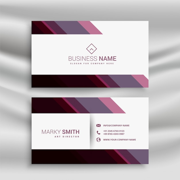 Abstract business visiting card with diagonal shapes Free Vector