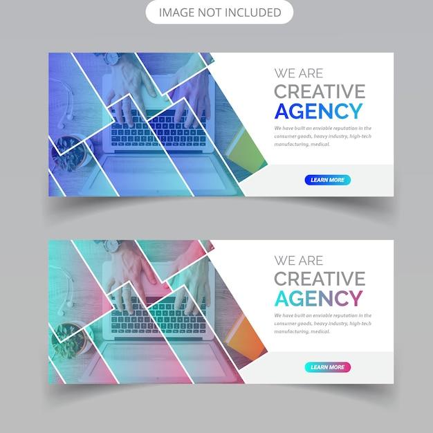 Abstract business web banner design Premium Vector