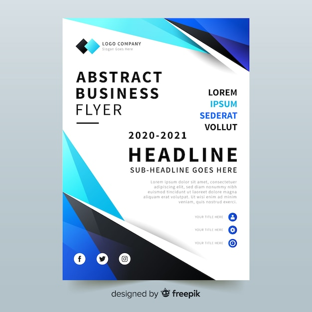 Abstract bussiness flyer with photo template Free Vector