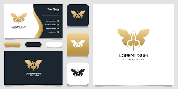 Abstract butterfly face human and dancing women logo design, business card template Premium Vector