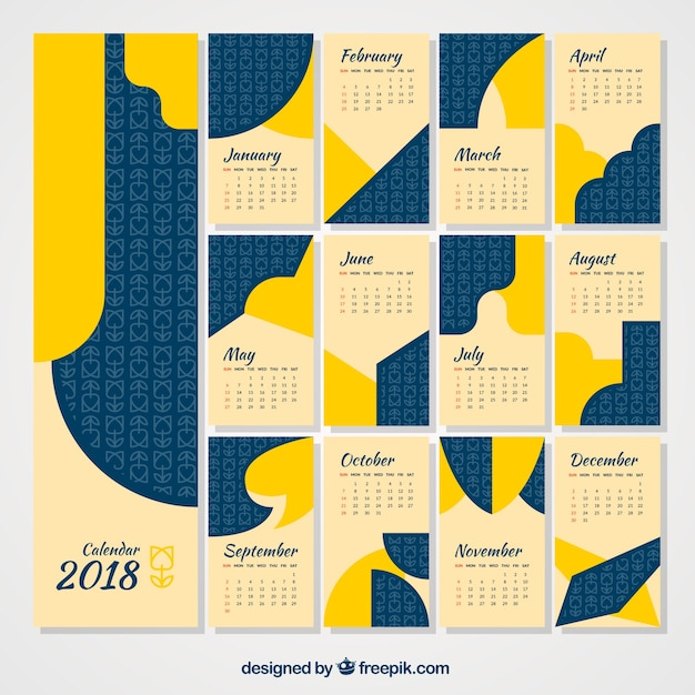 Abstract calendar 2018 pack in flat design