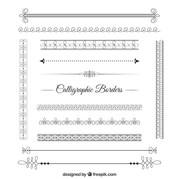 Abstract Calligraphic Borders Pack Vector Free Download