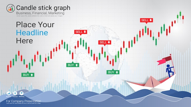Abstract candlestick and financial graph charts Premium Vector