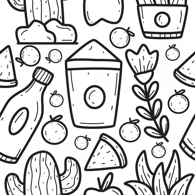 Abstract cartoon doodle pattern design template Premium Vector