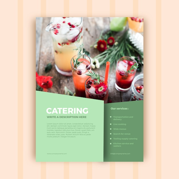 Abstract catering business brochure template Free Vector
