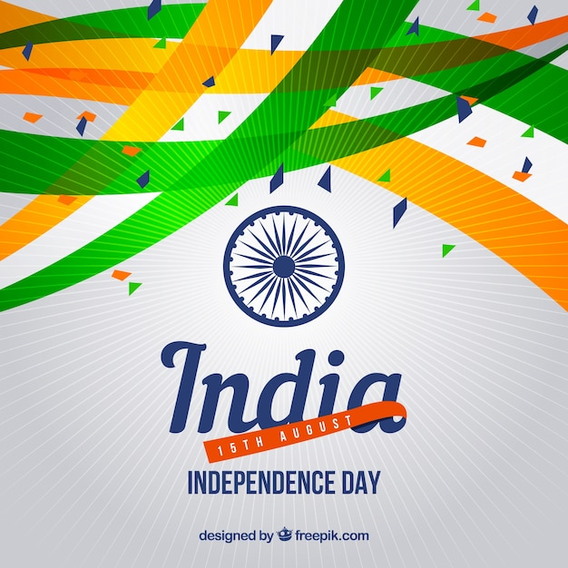 Abstract celebration background of india independence with confetti Free Vector