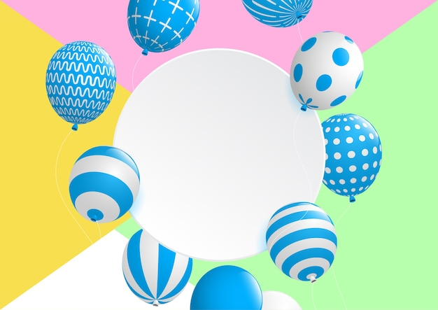Abstract and celebrations background with colorful decorative balloon .vector eps10. Premium Vector
