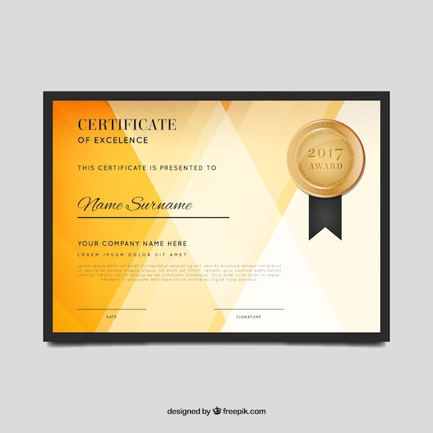Abstract Certificate Of Excellence Vector Free Download