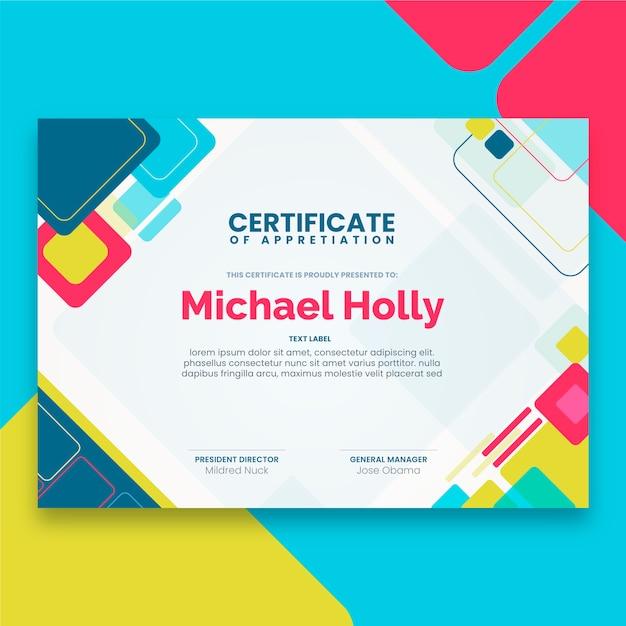 Konsep template sertifikat abstrak Vektor Gratis