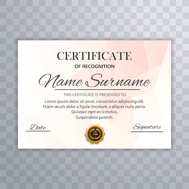 Abstract certificate template design vector Free Vector