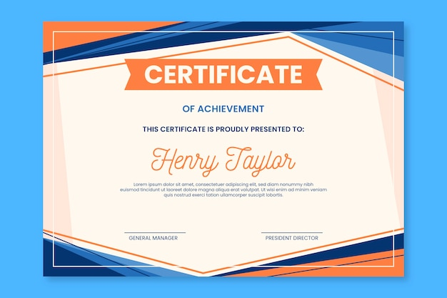 Abstract certificate template design Free Vector