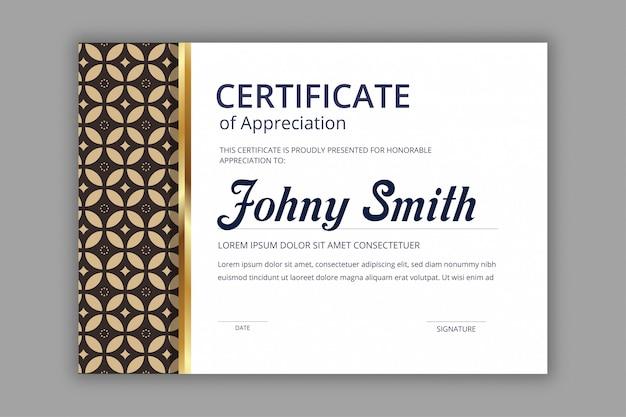 Template sertifikat abstrak dengan pola mulus batik angkatan laut Vektor Premium