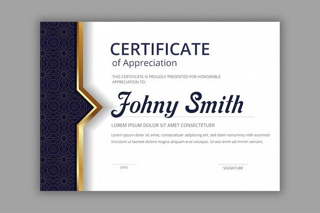 Template sertifikat abstrak dengan pola mulus batik mandala angkatan laut Vektor Premium