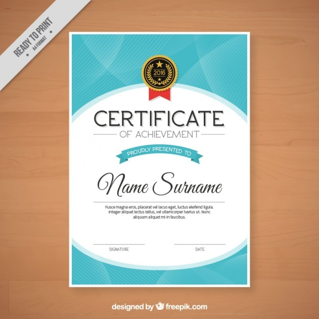 Abstract Certificate With A Badge Vector Free Download