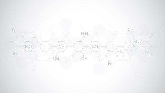 Абстрактный образец химии на мягком сером фоне с химическими формулами и молекулярными структурами. шаблон с концепцией и идеей для науки и инновационных технологий. Premium векторы
