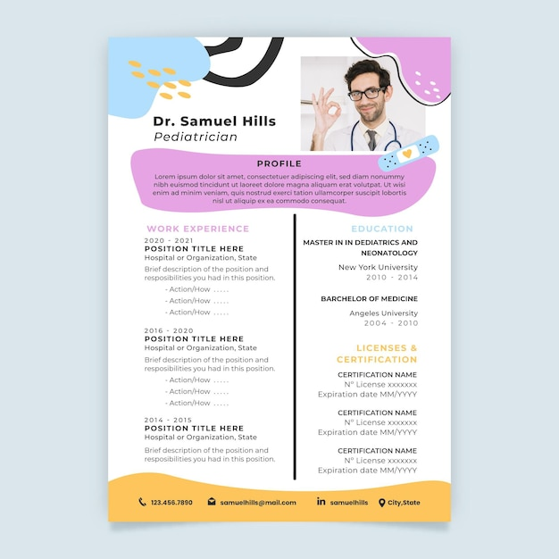 Abstract child-like medical resume Free Vector