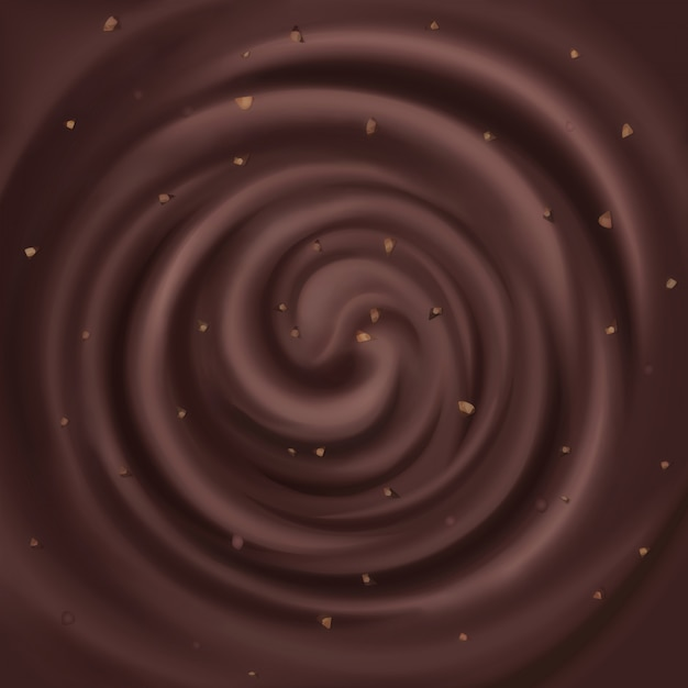 Abstract chocolate swirl with nuts background. Premium Vector