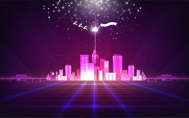 Abstract christmas background with purple neon grids city Premium Vector
