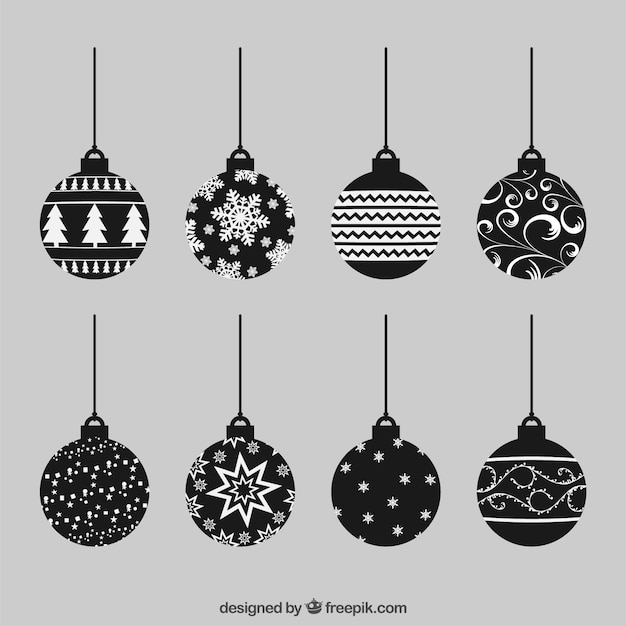 Abstract christmas baubles collection Free Vector