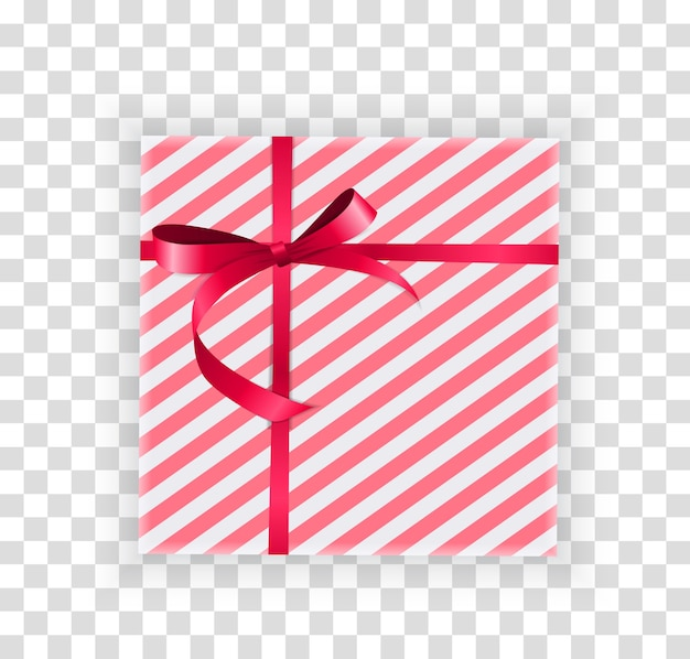 Abstract christmas and new year gift box on transparent background. Premium Vector