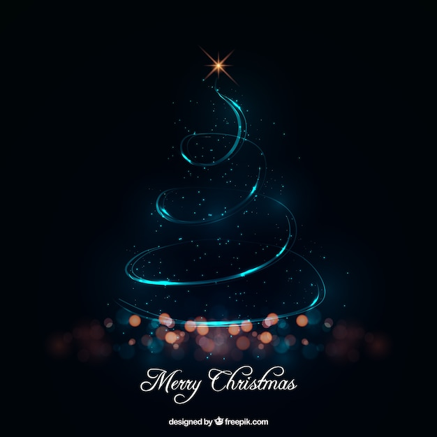 Abstract christmas tree made of lights Free Vector