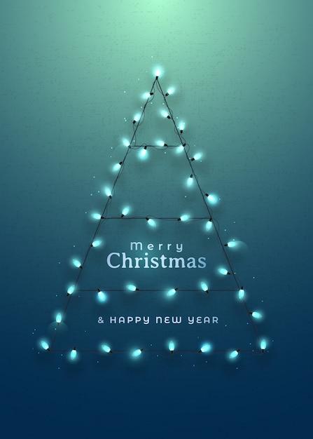 ガーランドライトで作られた抽象的なクリスマスツリー。 Premiumベクター