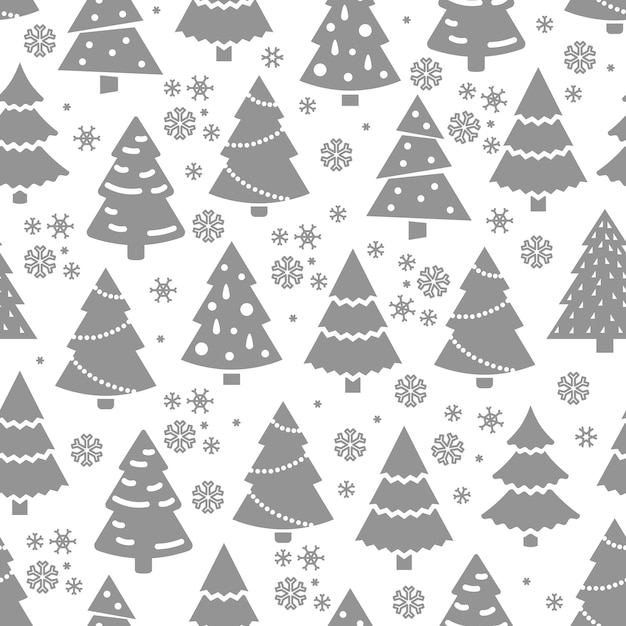 Abstract christmas tree seamless pattern. winter seamless texture with fir tree and snowflakes. Premium Vector