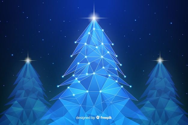Abstract christmas tree with lights in blue shades Free Vector