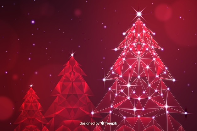 Abstract christmas tree with lights in red shades Free Vector