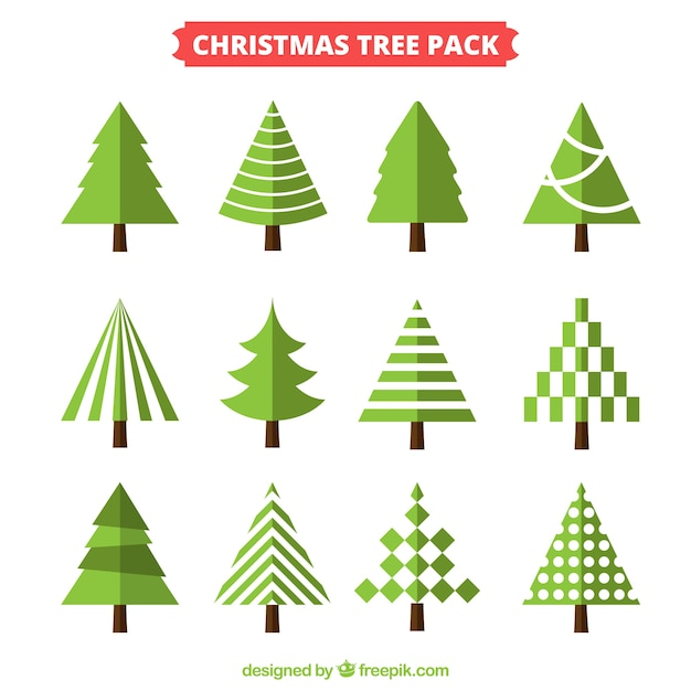 abstract christmas trees pack vector free download
