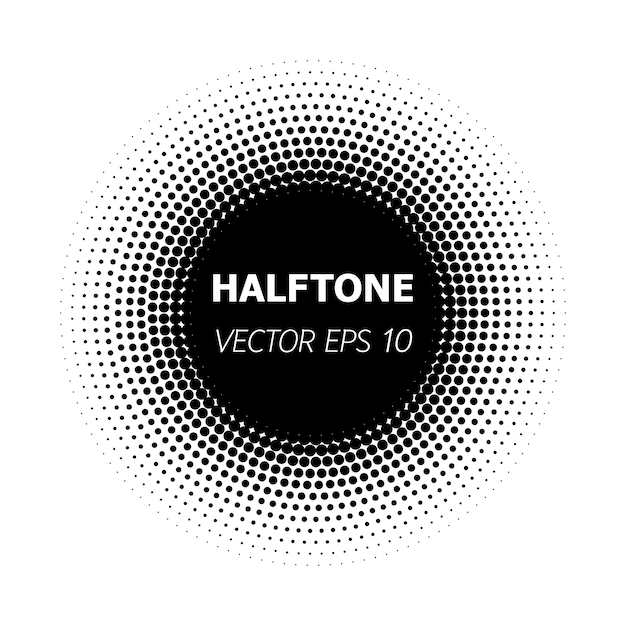 Abstract circle black halftone on white background. Premium Vector