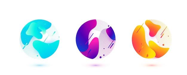Абстрактный круг жидких форм. градиентные волны с геометрическими линиями, точки вписаны в круглую форму. иллюстрация дизайна элемента. Бесплатные векторы