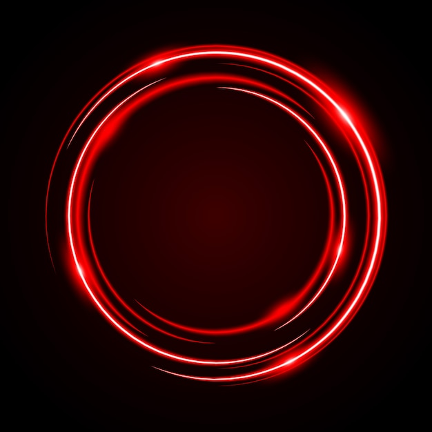 Abstract circle neon light red frame Premium Vector