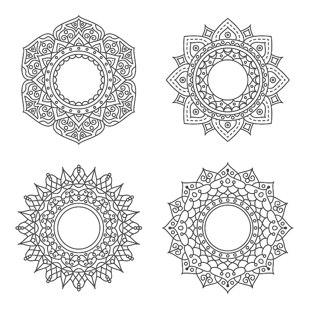 Abstract circle ornament with flower concept Premium Vector