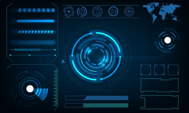 Abstract circle technology futuristic interface hud concept Premium Vector