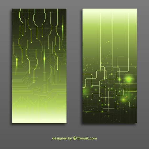Abstract circuit board banners Premium Vector