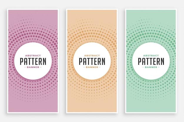 Abstract circular halftone pattern set Free Vector