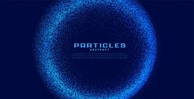 Abstract circular techno particles blue background Free Vector