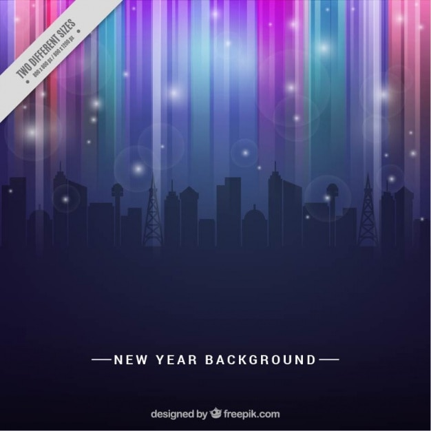 abstract city in new year background free vector