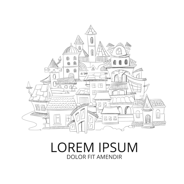 Abstract cityscape with hand drawn doodles ink european home Premium Vector