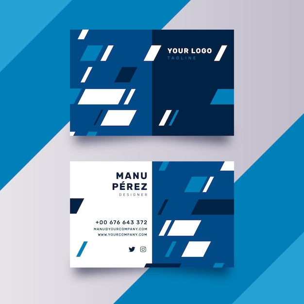 Abstract classic blue business card template design Free Vector